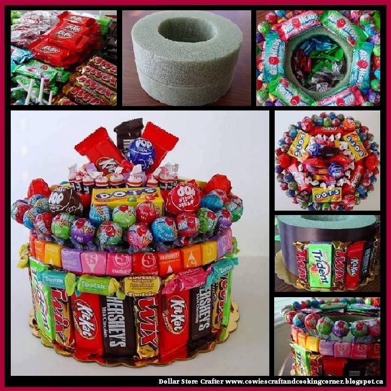 Dollar Store Crafter Candy Birthday Cake