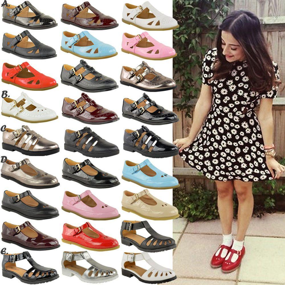 Las Womens S Cut Out Geek Shoes Flat School T Bar Office Pumps Work Size