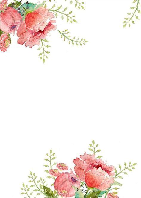 Watercolor Floral Border Paper Printable Floral Watercolor Watercolor Stationery Watercolor Flowers
