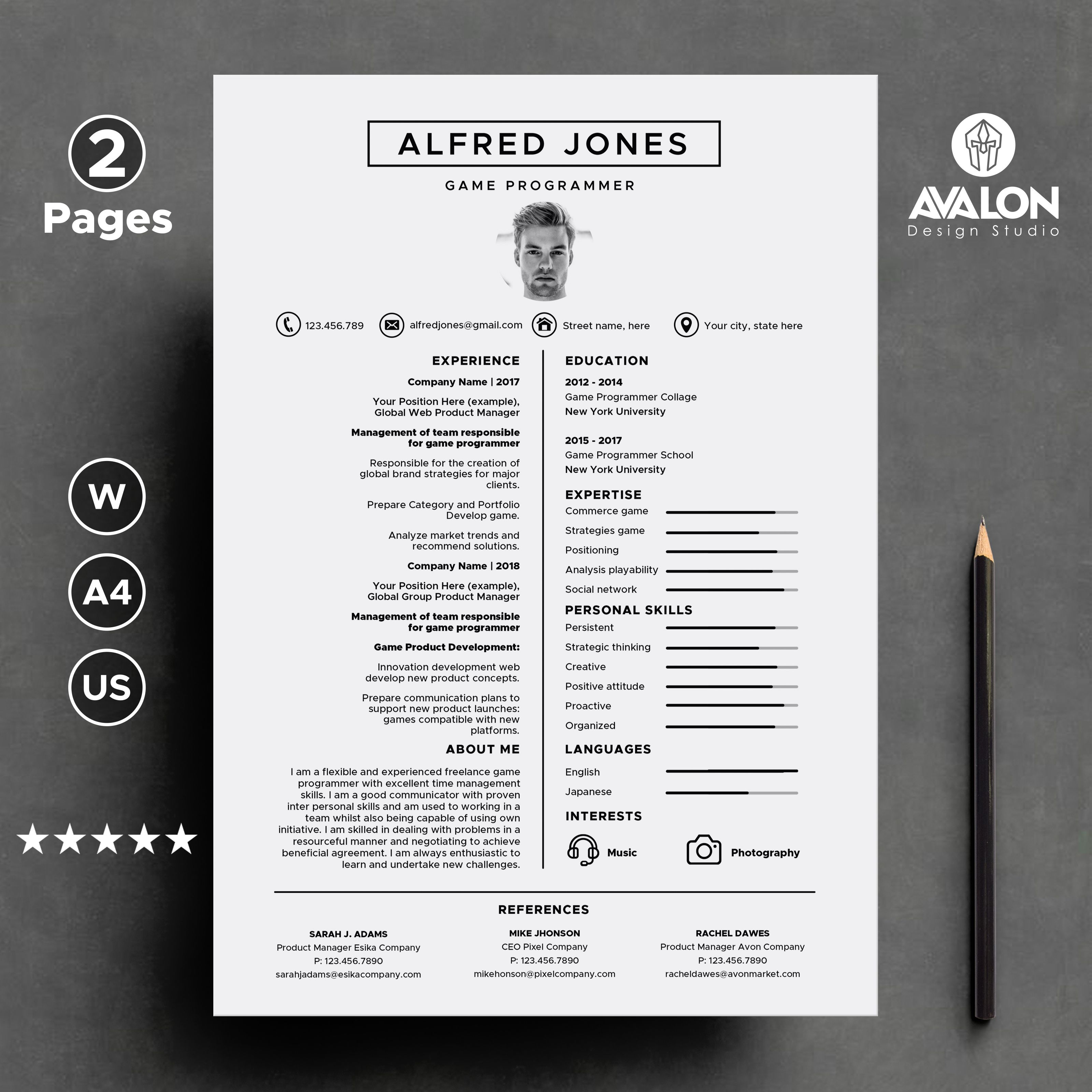 Professional Resume template for MS Word, 2 Pages, Modern