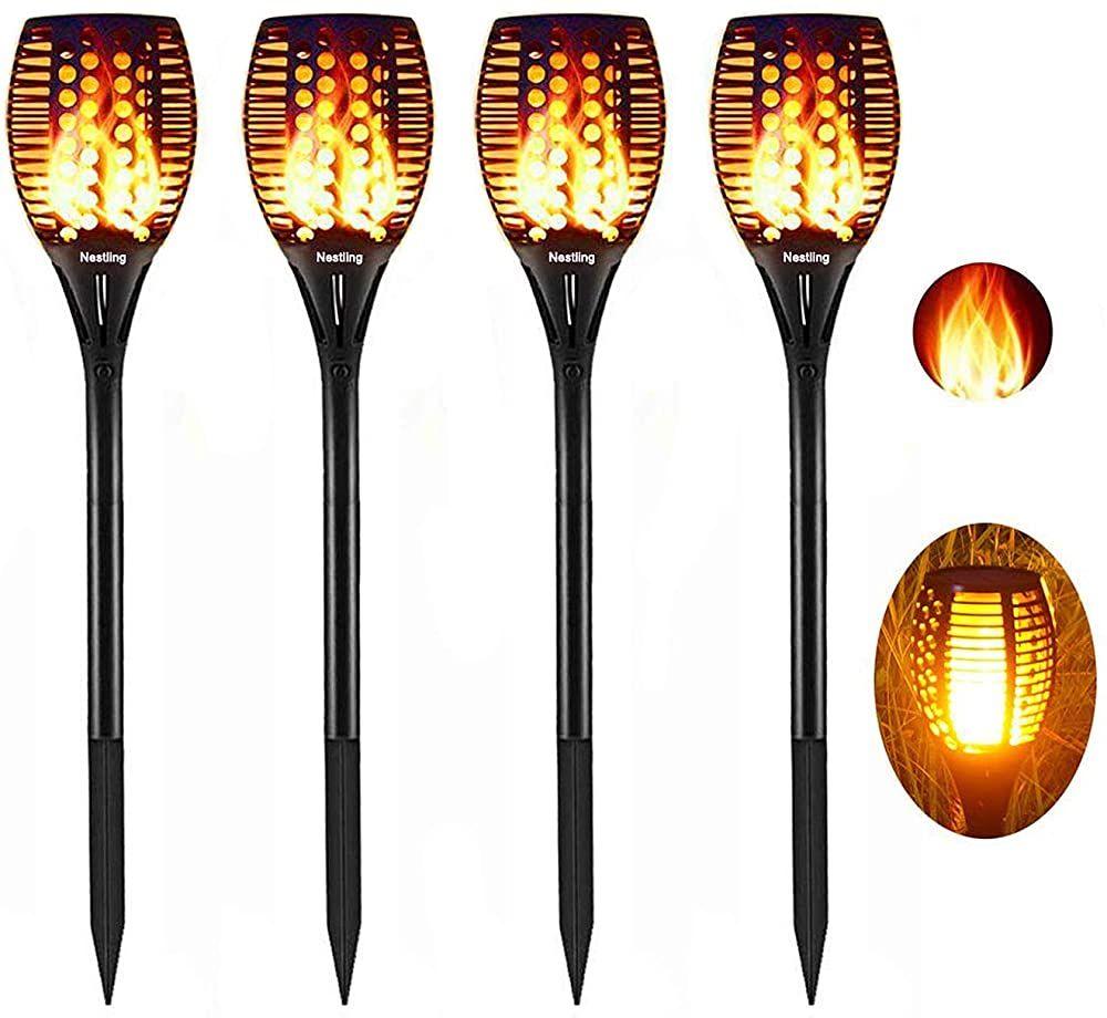 Nestling Solar Gartenleuchte Fackel 96 Led Realistische Flamme Licht Tanzen Effekt Ip65 Wasserdichte Solarlampen Fur Aussen Fur Solarlampen Solarleuchten Solar