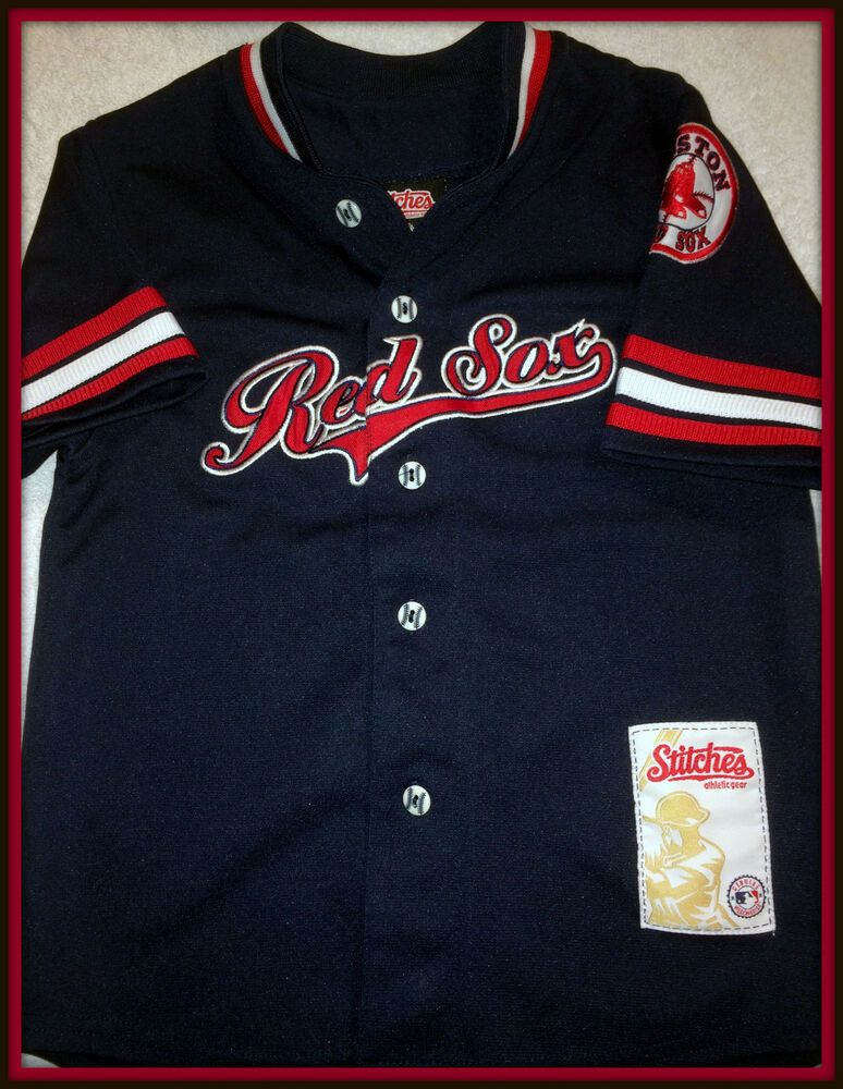 Boston Red Sox Stitches Athletic Gear Kids Large Embroidered Button