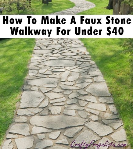 build a faux stone walkway for under 40 the crafty frugalista walkway pinterest stone. Black Bedroom Furniture Sets. Home Design Ideas