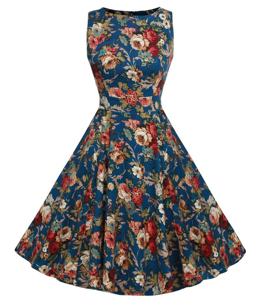 cd238ee7299 Sleeveless Tunic Casual Vintage 1950s 60s Party Rockabilly Big Swing Long  Floral Dresses