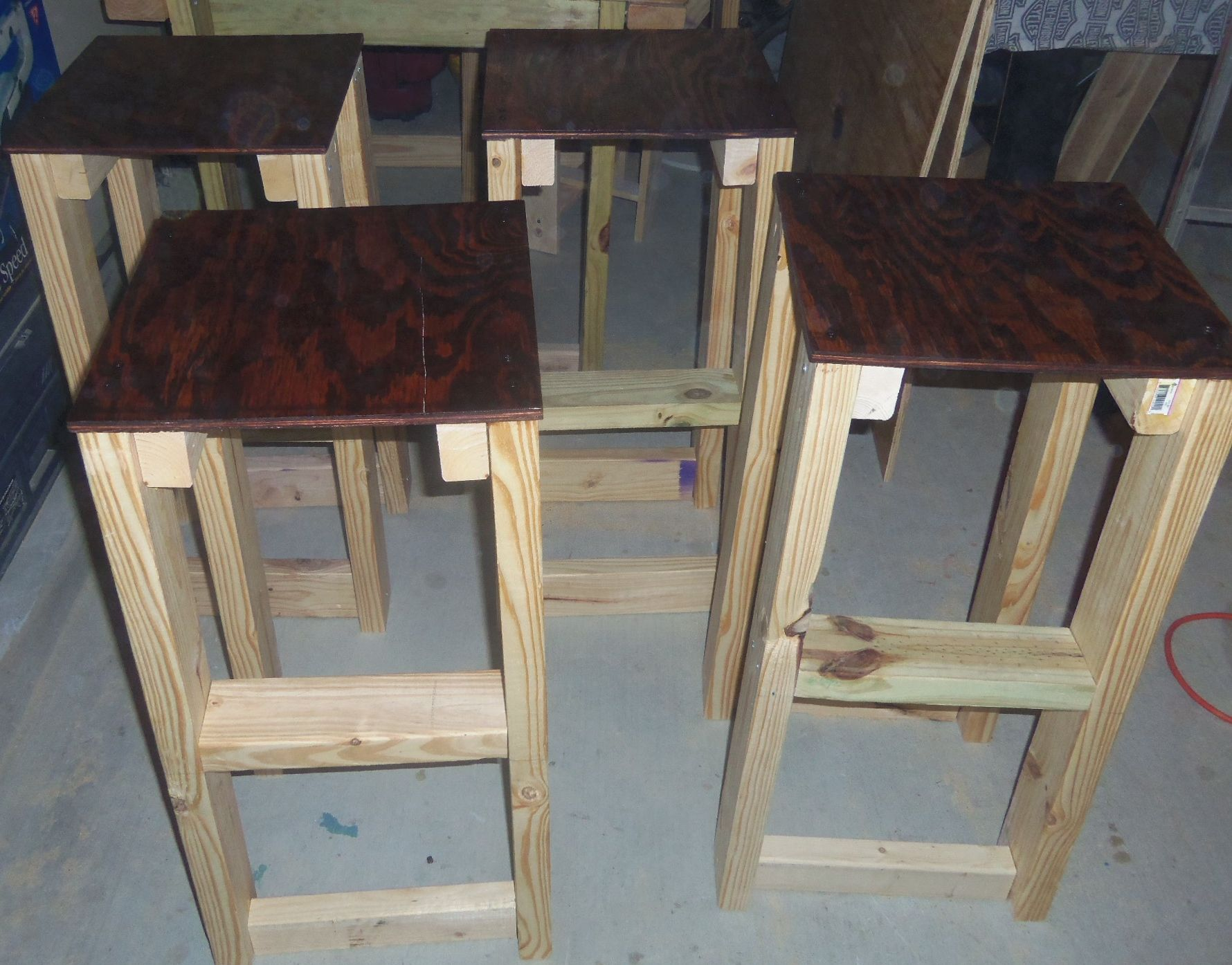 made these today wooden bar stools with red oak stained seats