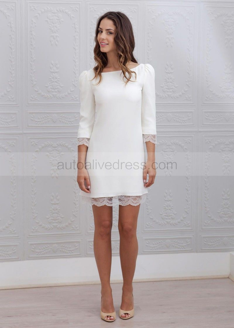 Pin By Kanyapohn K On The White Dresses Long Sleeve Short Wedding Dress Short Wedding Dress Short Dresses
