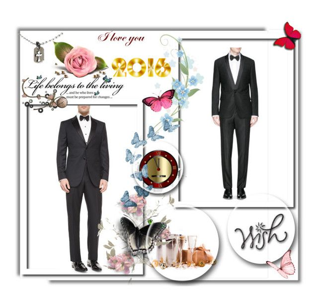 """""""tuxedo for him, new year gift"""" by smile-2528 ❤ liked on Polyvore featuring Giorgio Armani, Givenchy and Chrome Hearts"""