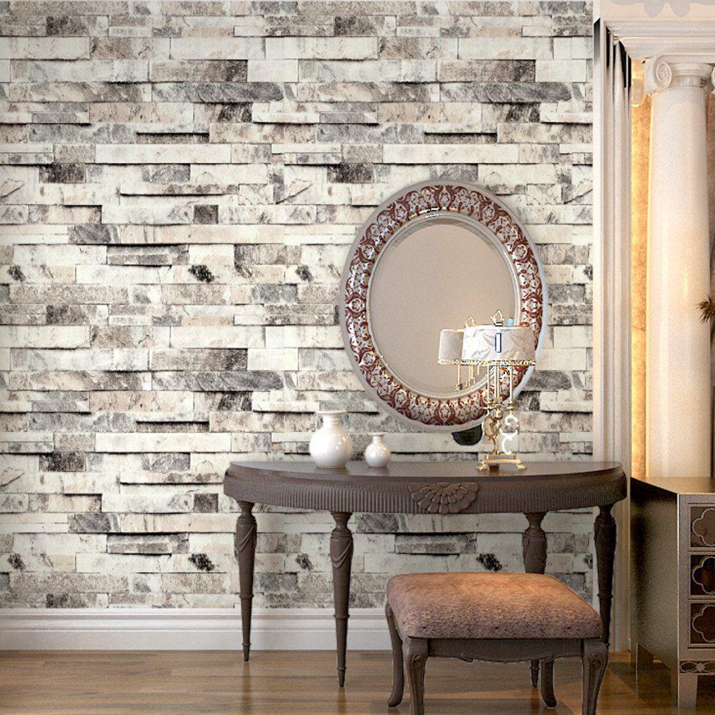 HaokHome 91301 Modern Faux Brick Stone Textured Wallpaper