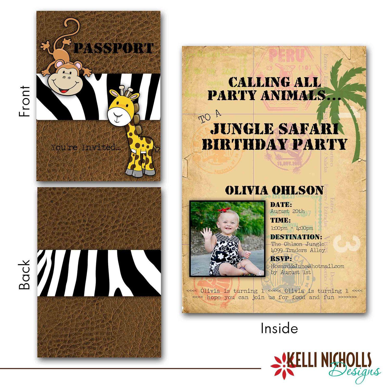 Jungle Safari Birthday Invitation by KelliNichollsDesigns on Etsy – Zoo Themed Birthday Invitations