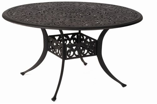 Round Inlaid Lazy Susan Table, Round Outdoor Dining Table With Lazy Susan