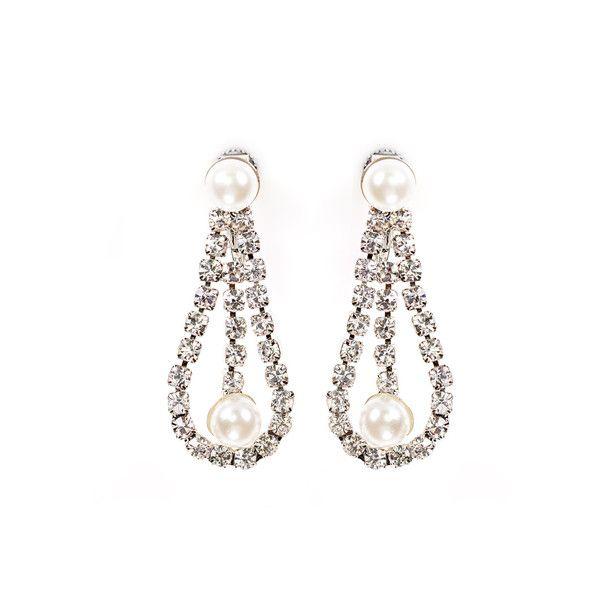 Ivory Pearl and Rhinestone Drop Earrings