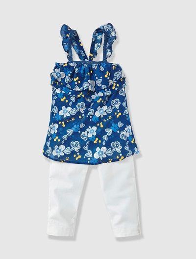Conjunto Blusa Estampada Pantalon Pesquero Nina Nina Floral Tops Hannah Rose Future Kids