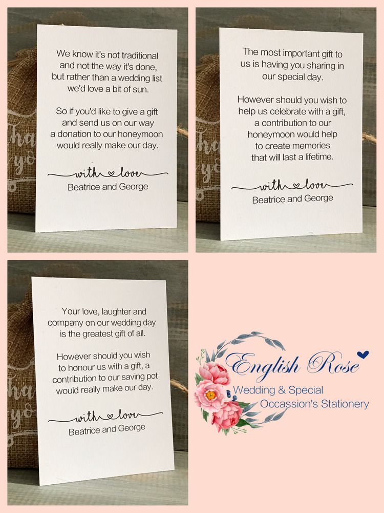 PERSONALISED WEDDING GIFT MONEY POEM SMALL CARDS ASKING FOR MONEY 4 ...