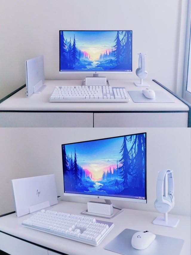 Silver/White Work from Home Setup