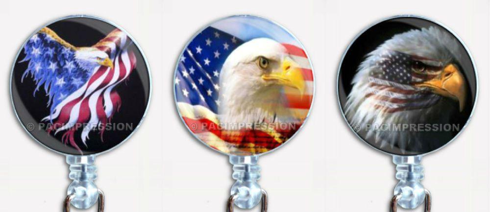 Badge Reel Retractable ID Name Card Holder Patriotic American Flag Eagles USA