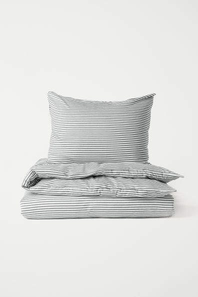 Jersey Duvet Cover Set Grey White Striped Home All H M Gb Duvet Cover Sets Duvet Covers Grey Duvet