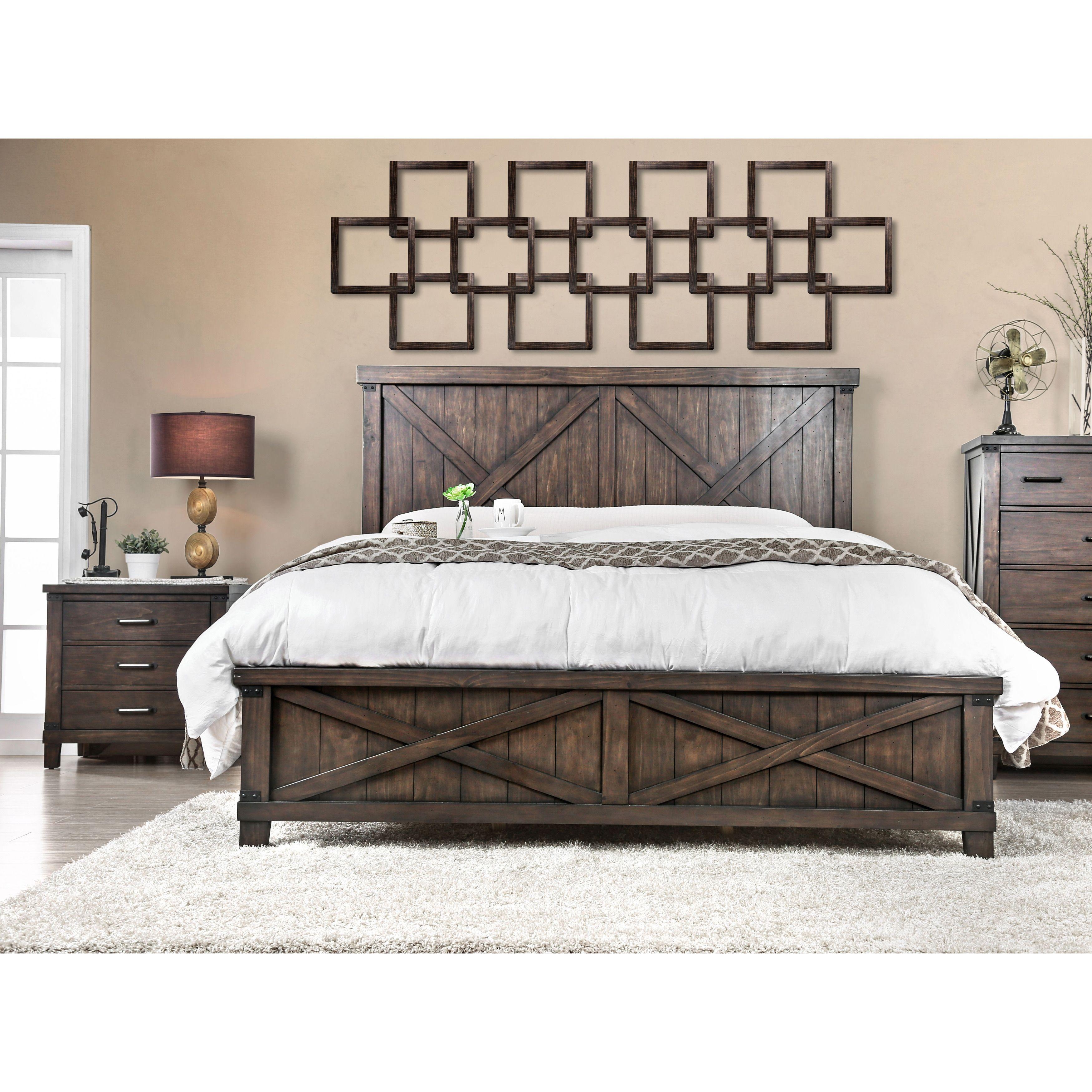 Furniture of America Hilande Rustic Farmhouse 2piece Dark