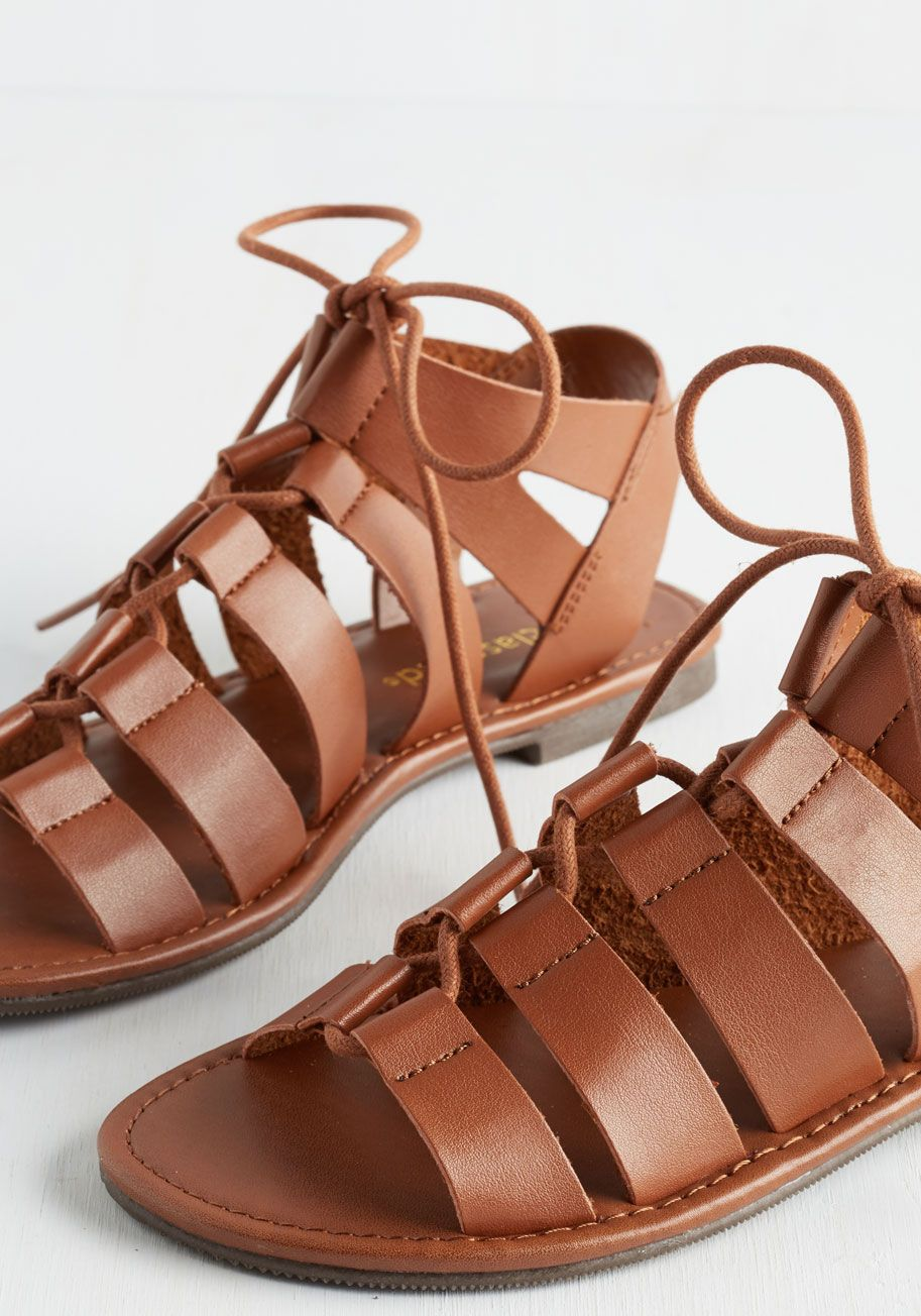 64015fd759a4 Tie it Out Sandal in Cognac. Add some chic adventure to your day as you  peruse your vacay digs in these cognac-brown sandals.  brown  modcloth