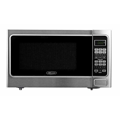 Bella 1 1 Cu Ft 1000 Watt Countertop Microwave Oven In Platinum With Stainless Steel Read M Countertop Microwave Stainless Steel Microwave Microwave Oven