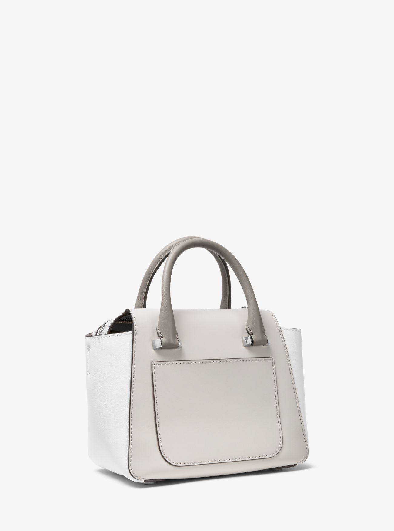 02a3c2523f6d0a Cheap Michael Kors Alu/Opt/Pgry Nolita Mini Color-Block Leather Satchel  Stockist