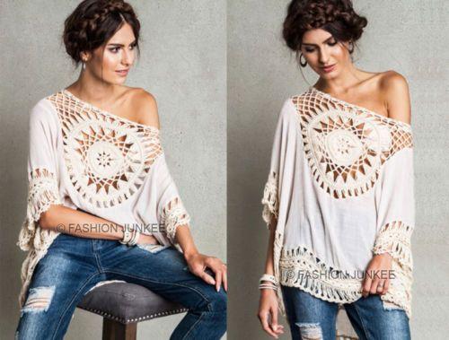 OFF-WHITE-250-CROCHET-CIRCLE-TUNIC-Top-3-4-Sleeve-Bohemian-Boho-Shirt-NEW-S-M-L