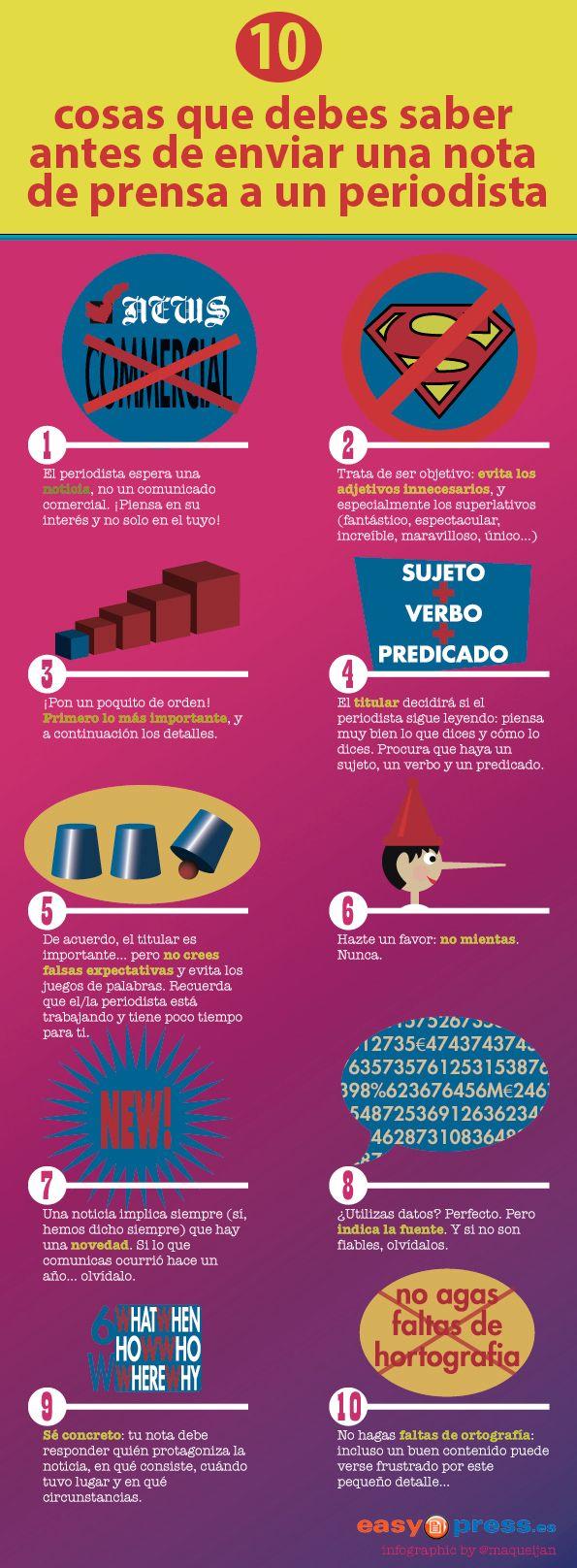 10 Cosas Que Debes Saber Antes De Enviar Una Nota De Prensa A Un Periodista Nota De Prensa Comunicacion Y Marketing Prensa