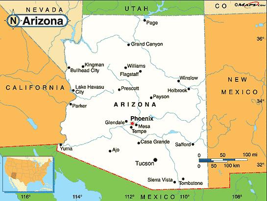 map of arizona cities maps pinterest
