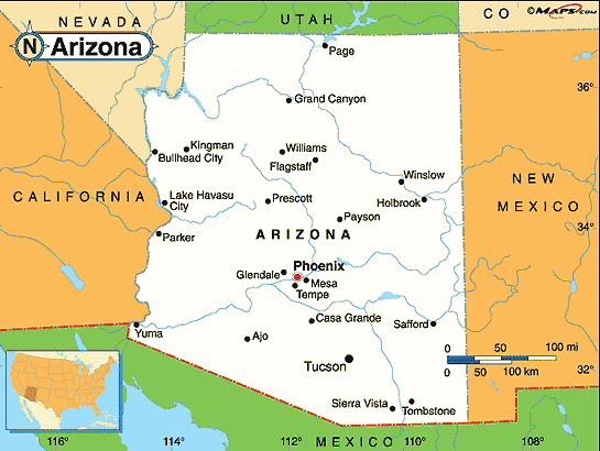 Map Of Arizona And Cities.Map Of Arizona Cities Maps Arizona City Arizona Parker Arizona