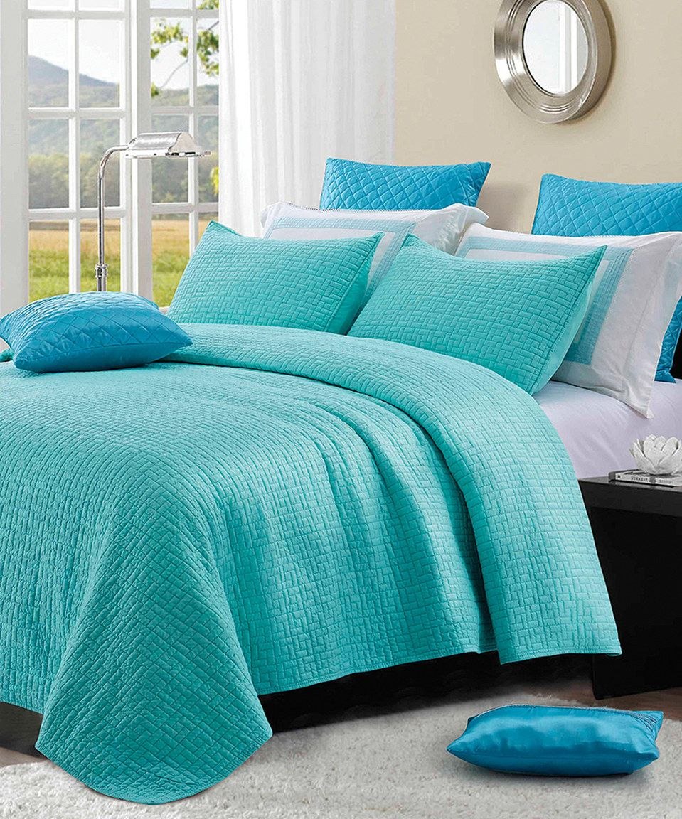 Love this Kitahna Turquoise Basket Weave Quilt Set by Duke Imports     Love this Kitahna Turquoise Basket Weave Quilt Set by Duke Imports  Inc  on