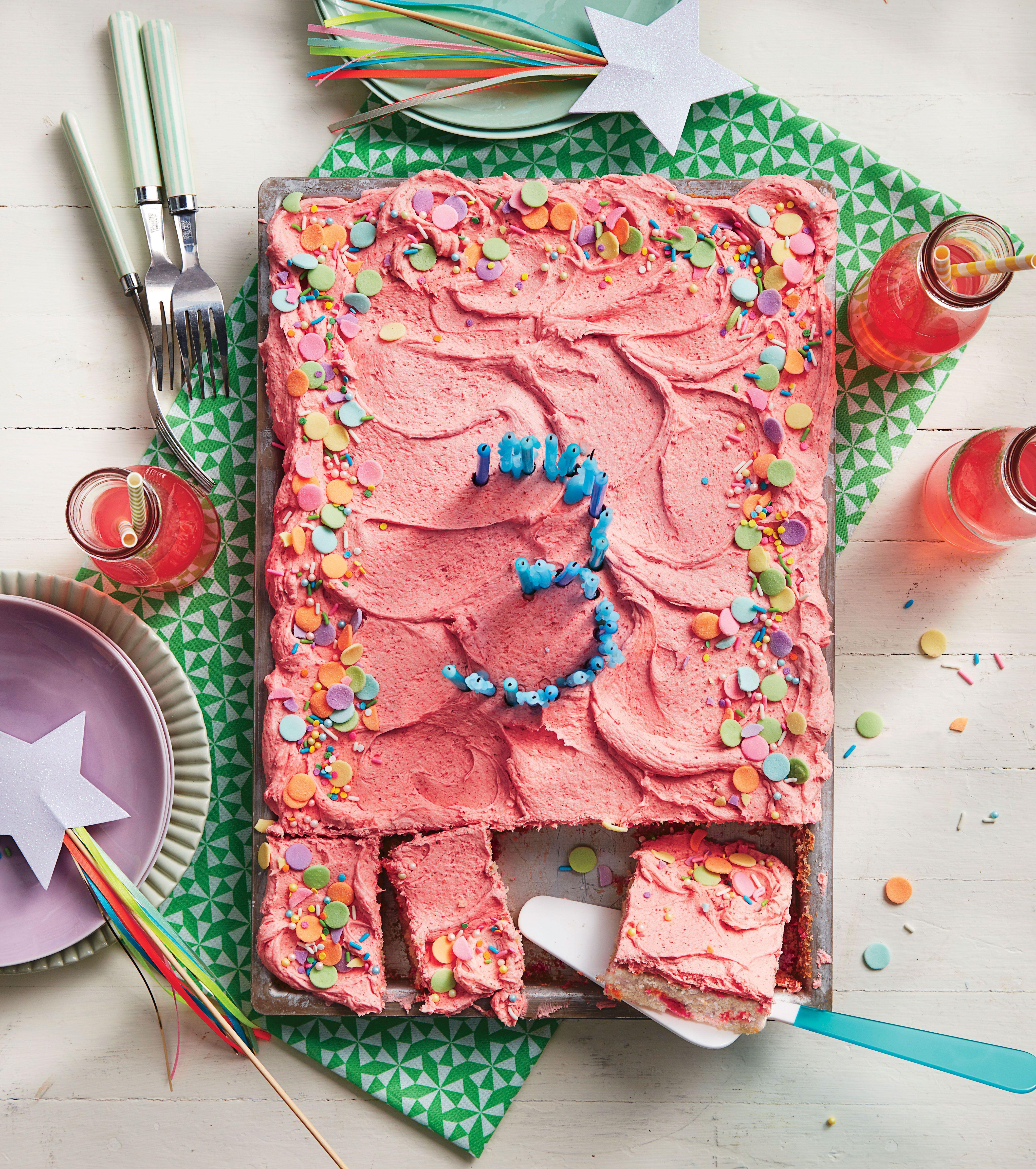 Cream Soda Confetti Sheet Cake With Strawberry-Sour Cream