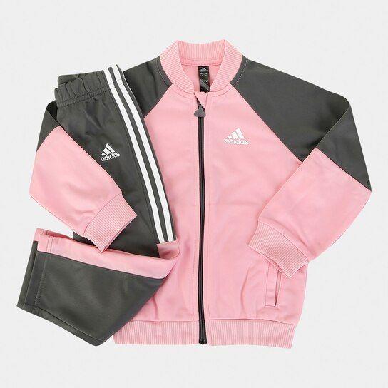 80a15a519 Agasalho Infantil Adidas Shiny Feminino - Pink e Branco - Compre Agora    Netshoes
