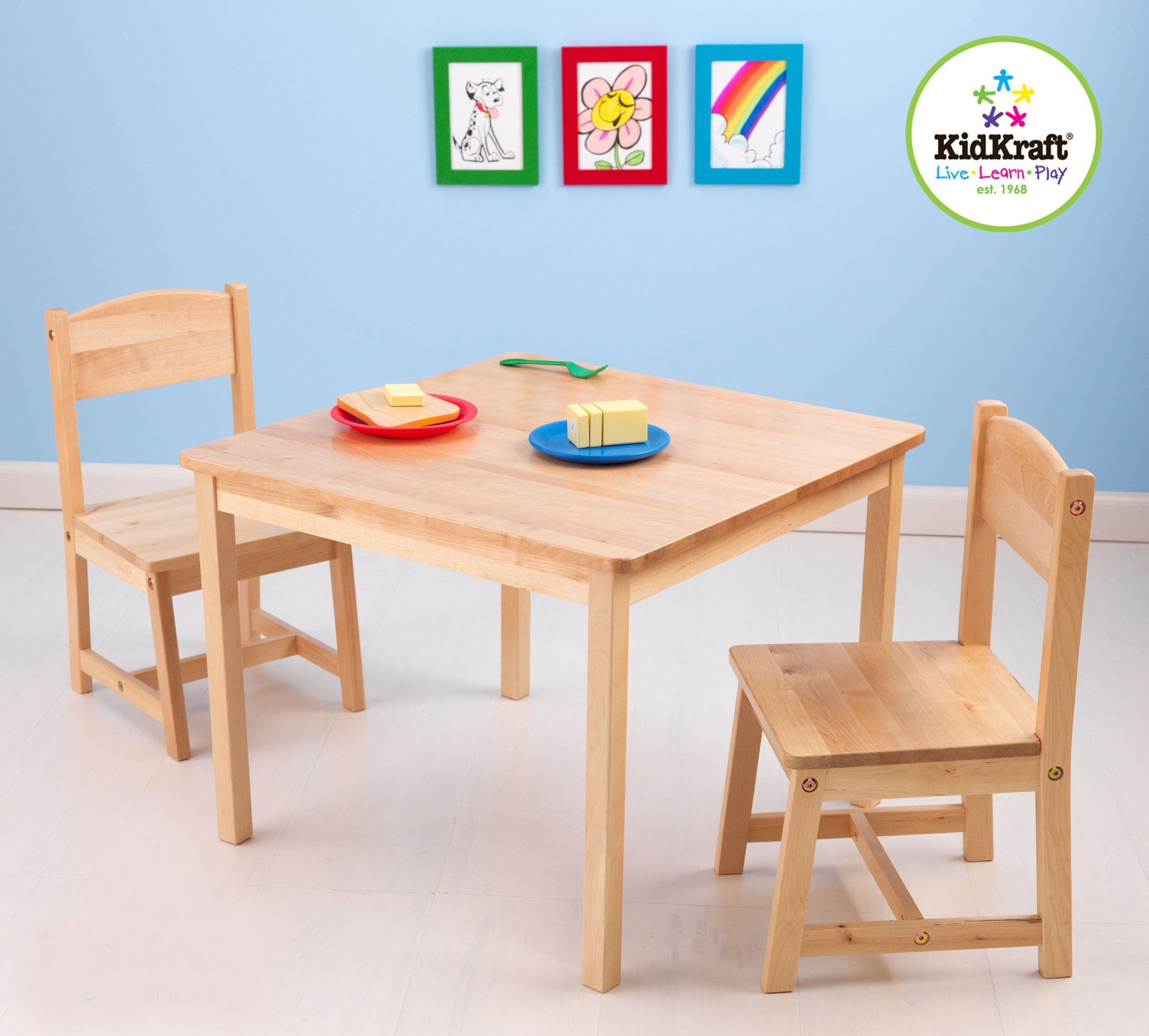 KidKraft 21221 Aspen Set Tavolo e 2 Sedie, MDF, Naturale: Amazon.it ...