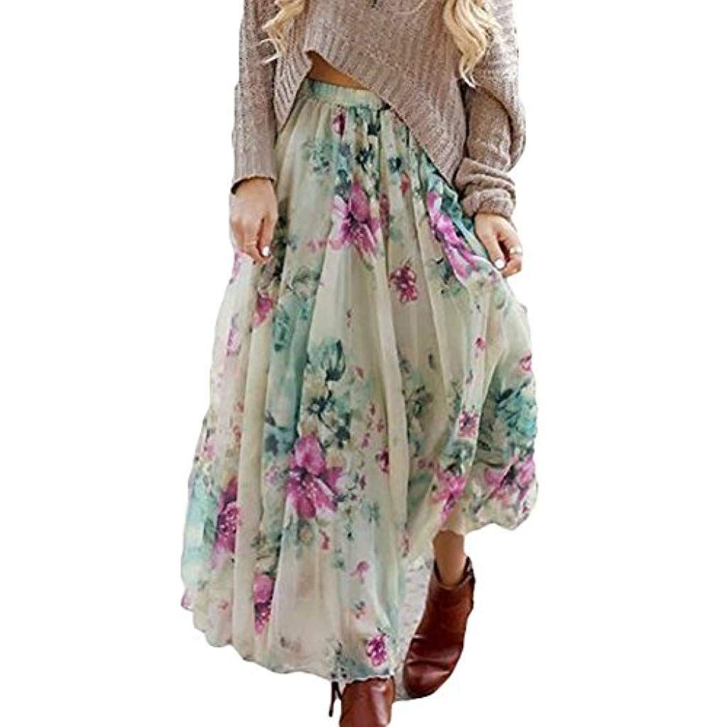 Damen Maxirock Chiffon Rock Faltenröcke Strandrock Partyrock Sommerrock Skirt