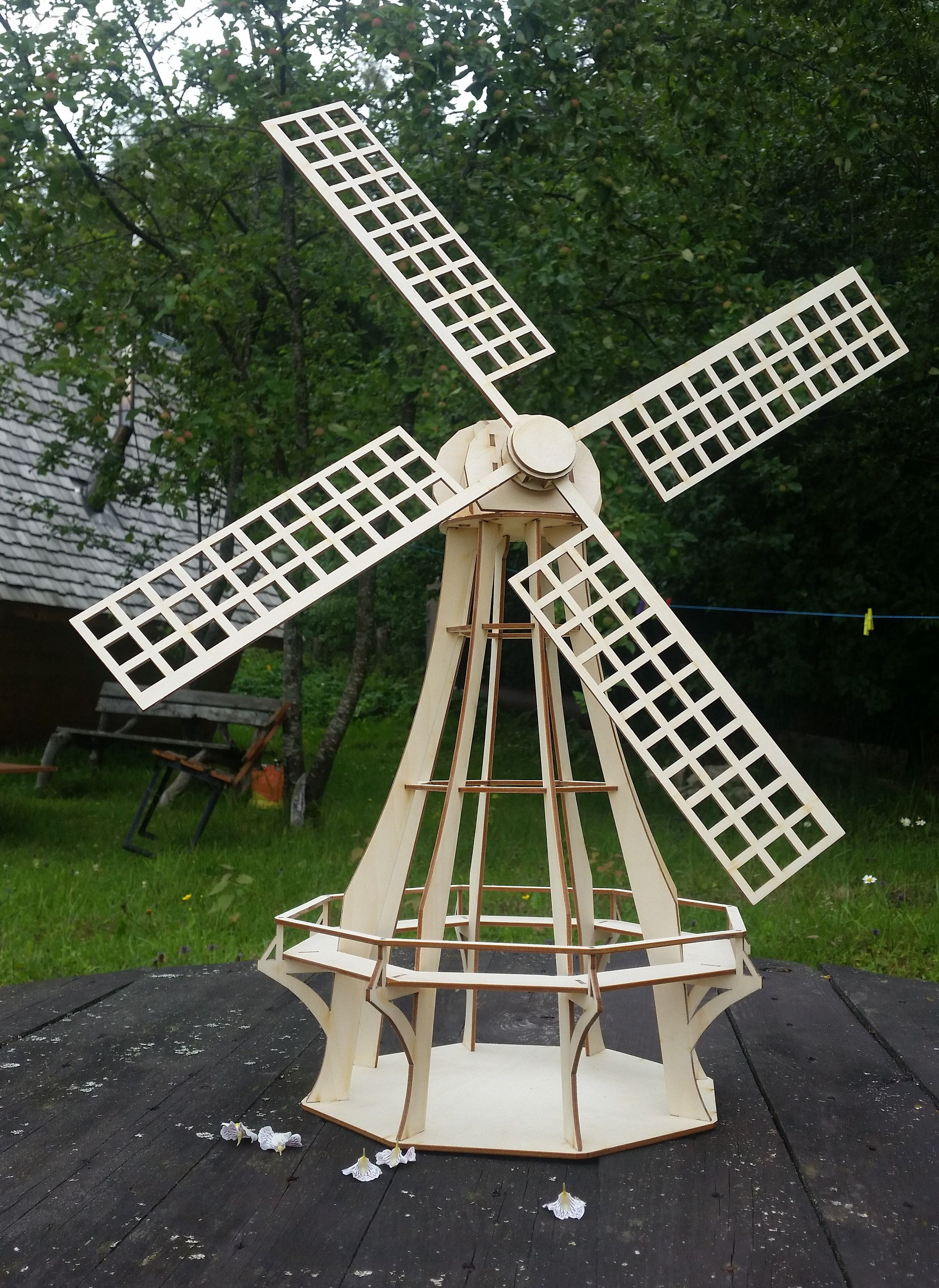 Windmill kit, dutch windmill, garden decor, wooden windmill