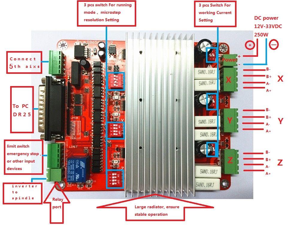 4 Axis CNC 3.5A Stepper Motor TB6560 Driver Controller Board NEW