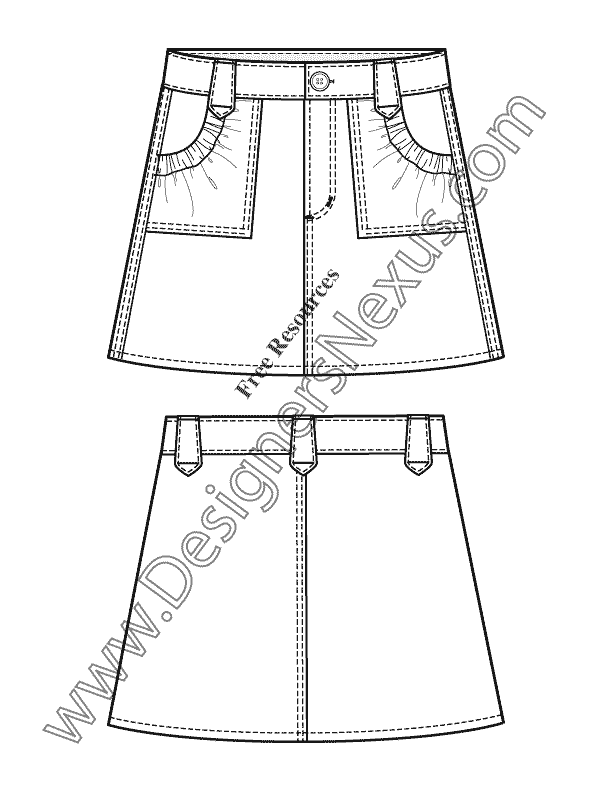 V23 Girls A-Line Skirt Childrens Flat Fashion Sketch