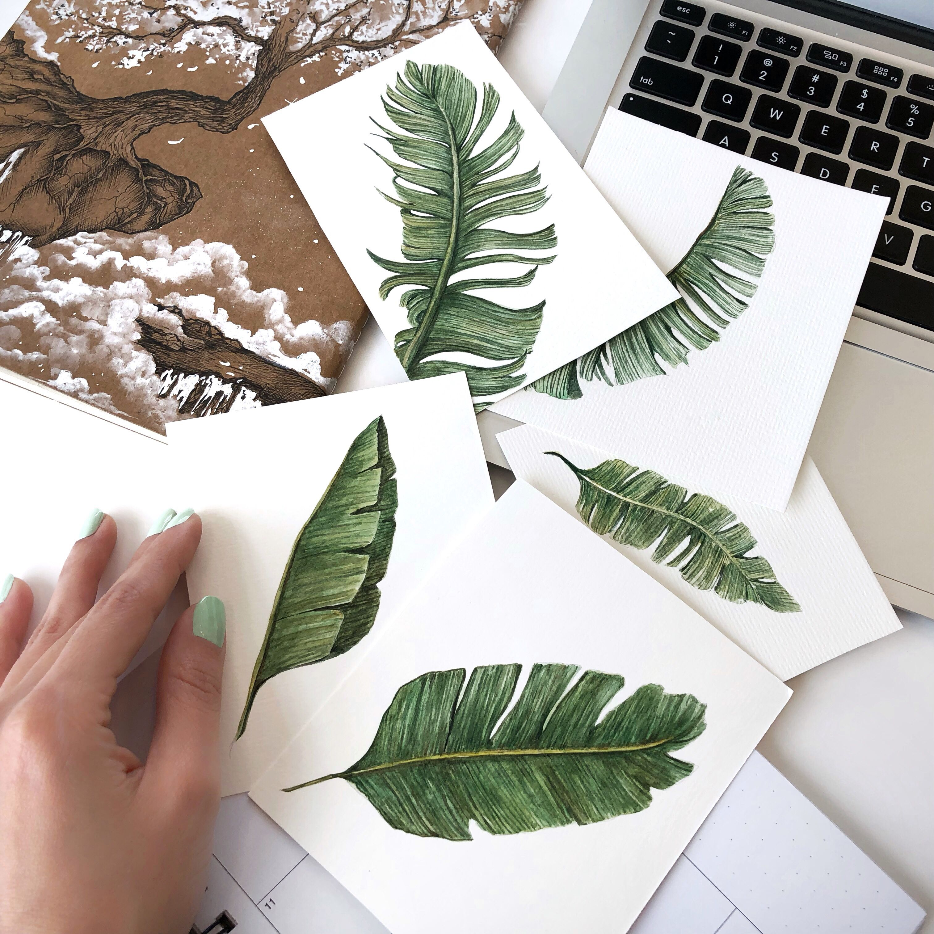 Painted A Few Different Types Of Tropical Leaves Art Artist