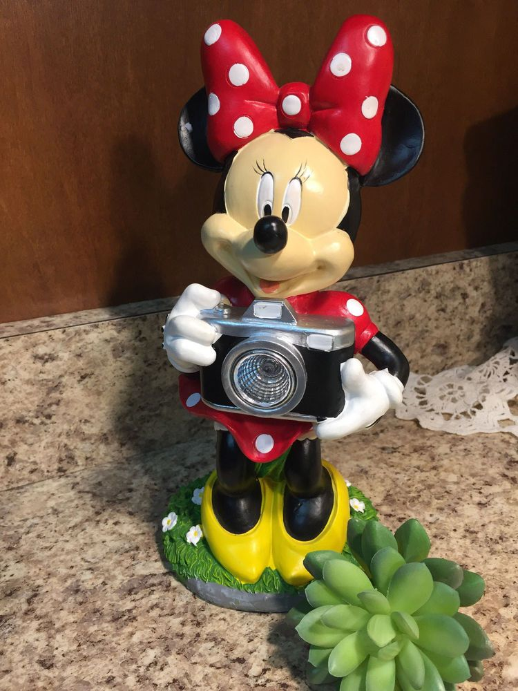 Disney Minnie Mouse Solar Garden Statue Camera Lights Up Outdoor #Statue