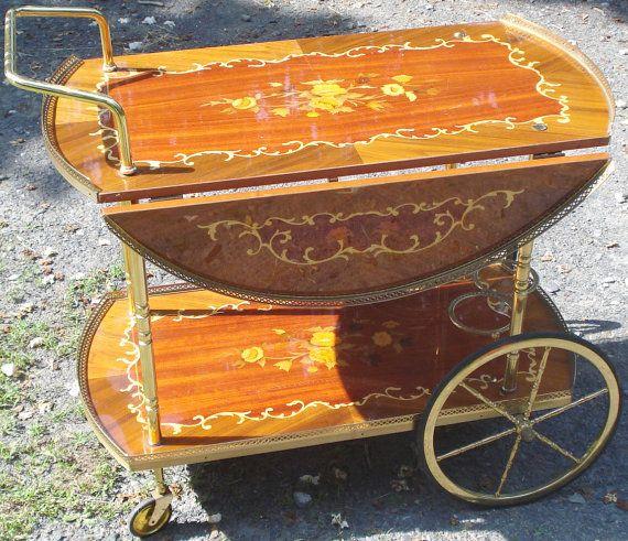 bar cart TEA TROLLEY drop leaf Italian Marquetry by cutterholly, $150.00