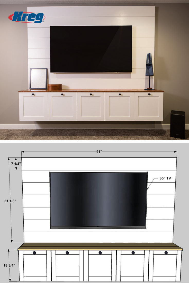 Wall Mounting Works Great For Big Tvs But A Bare Tv On The Wall Sure Doesn T Add Any Style Points To A Room Tv Cabinet Design Tv Room Design Tv Wall
