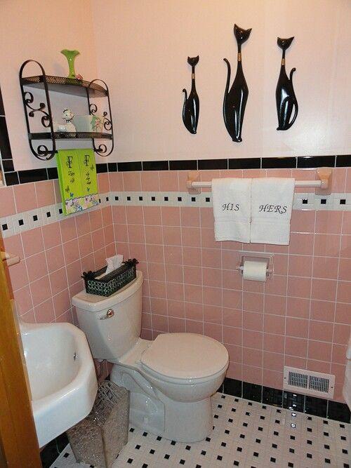 Black Lining Retro Pink Bathroom Pink Bathroom Tiles Retro