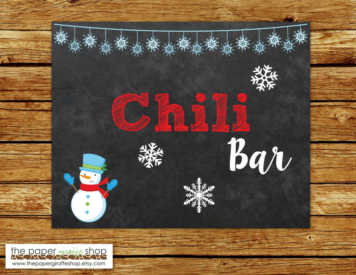 Chili Bar Sign | Chalkboard Sign | Chili Bar Sign with Snowman | Winter Wonderland Party Decorations | Winter Onederland #hotchocolatebar Chili Bar Sign | Chalkboard Sign | Chili Bar Sign with Snowman | Winter Wonderland Party Decorations | Winter Onederland by ThePaperGiraffeShop on Etsy #chilibar