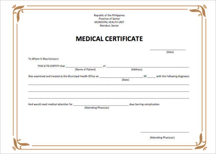 Sample Medical Letter From Doctor To Employer Medical Certificate Template Lettering