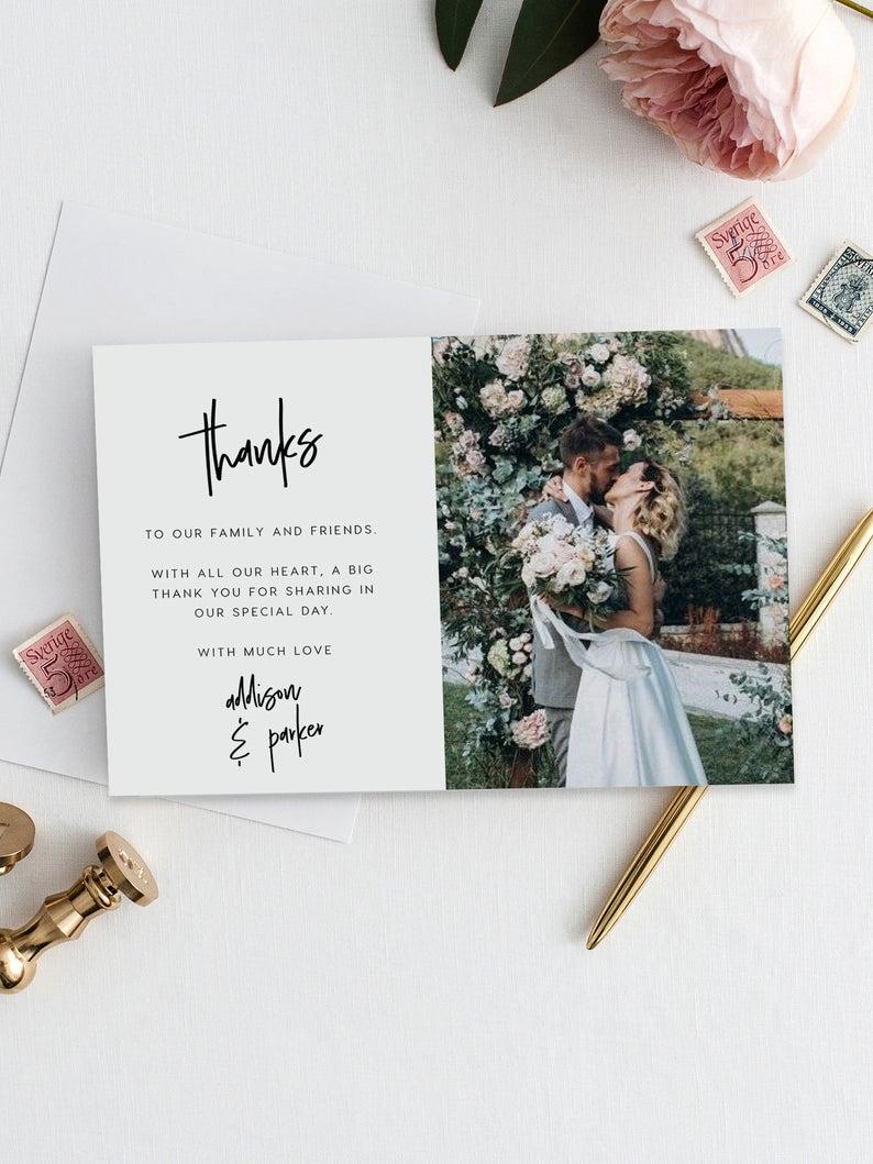 Photo Thank You Cards Wedding Thank You Card With Photo Etsy In 2020 Wedding Cards Photo Thank You Cards Wedding Thank You Cards