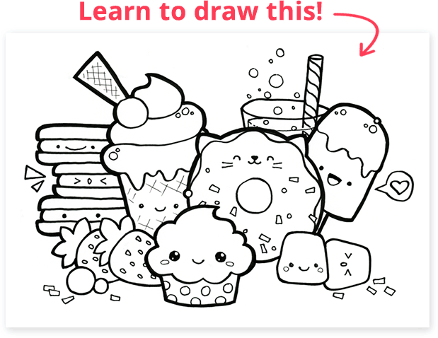 How To Draw Kawaii Free Tutorials Doodle Coloring Cute Doodle Art Cartoon Coloring Pages