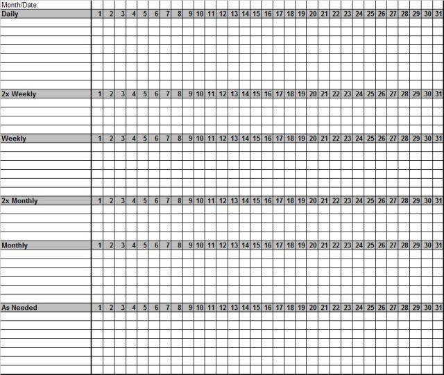 monthly chores checklist