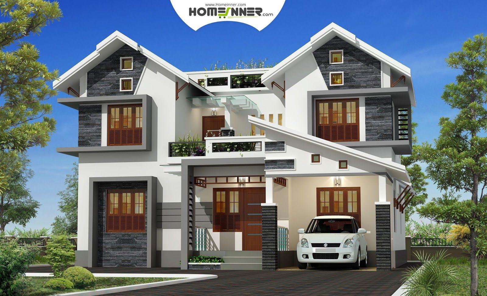 About the home design this beautiful home design has the for Kerala style villa plans
