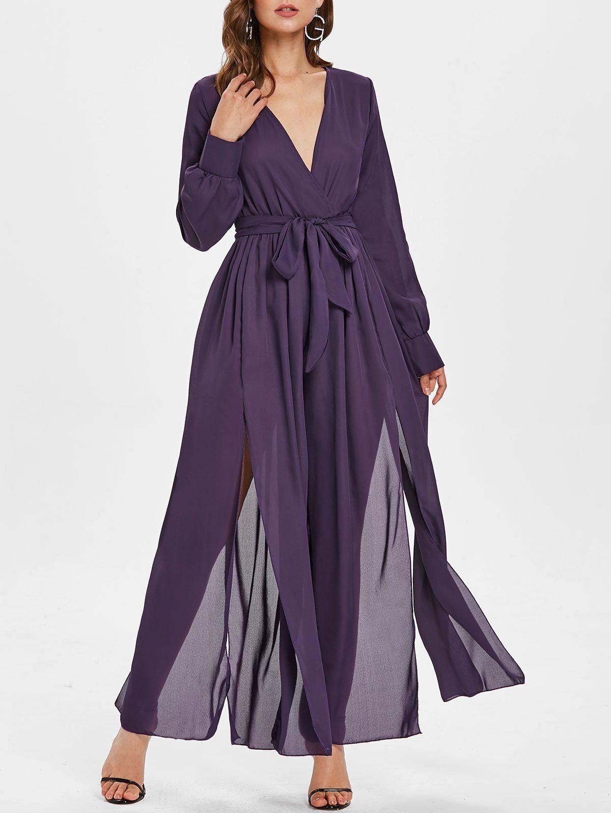 Plunging Neckline High Slit Wide Leg Maxi Jumpsuit – Purple Amethyst – S
