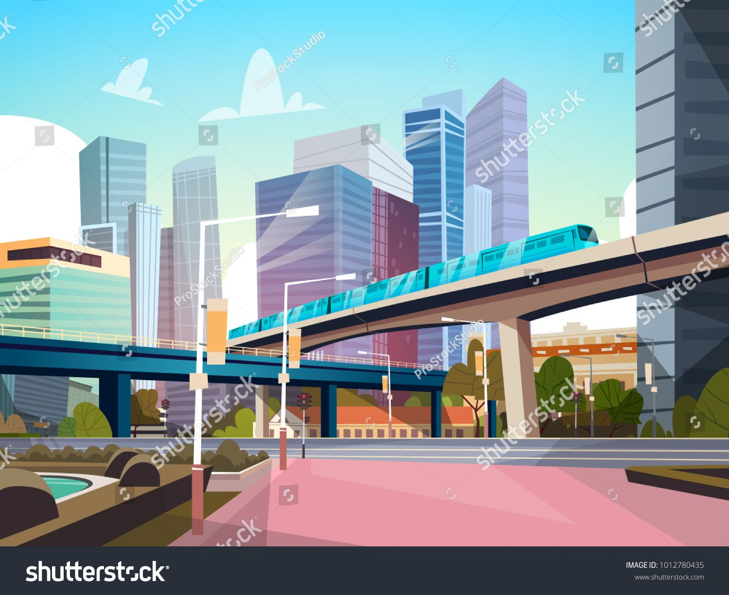 Modern City Panorama With High Skyscrapers And Subway Cityscape ...