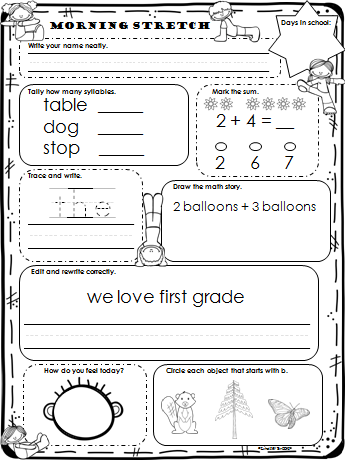 Worksheets Daily Morning Work 1st Grade september morning stretch is common core mathlanguage arts based work created specifically for first graders 25 no prep
